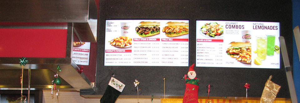 OSM Solutions deploys 3-Panel Digital Menu Board System Charley's Grilled Subs Westfield Topanga in Los Angeles