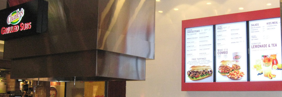 OSM Solutions delivers digital menu boards for Charley's Grilled Subs Westfield Solano Mall in Fairfield, CA