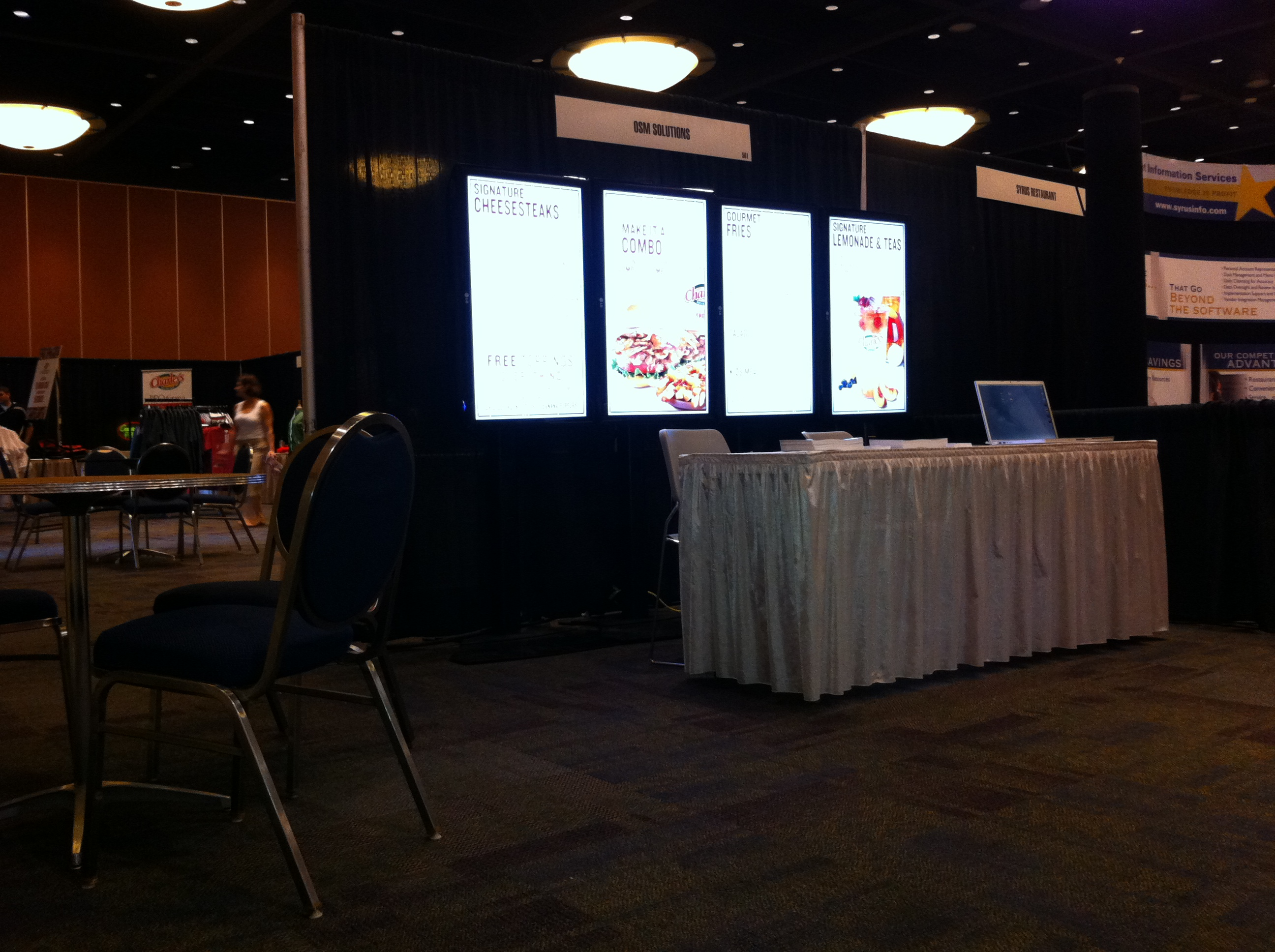 OSM Solutions Exhibits 4-Panel Digital Menu Board System at Charley's Grilled Subs Convention 2012 in Orlando, FL