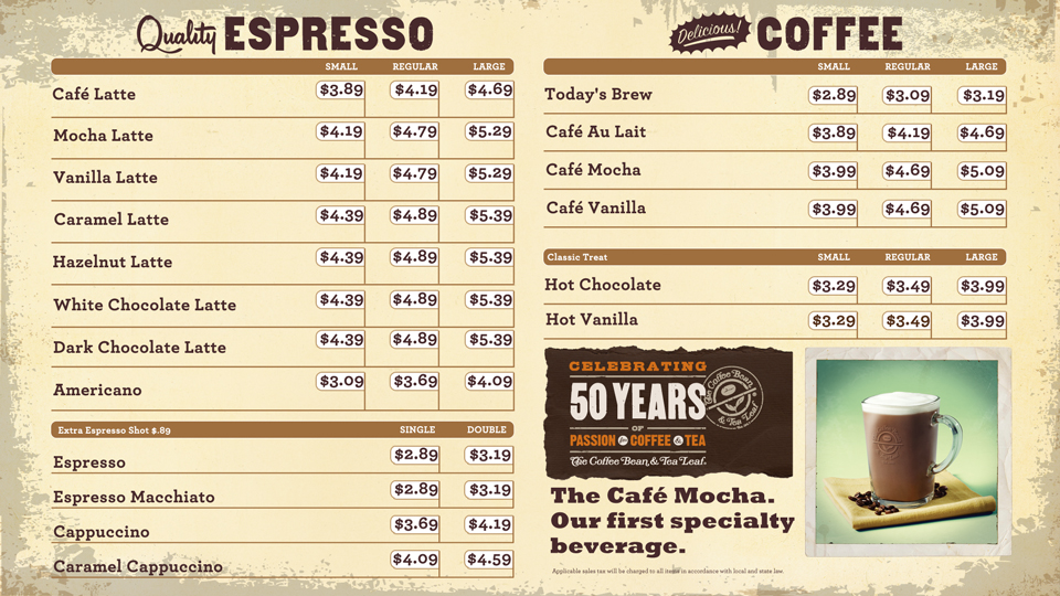 1 2013 Coffee Bean Menu Boards