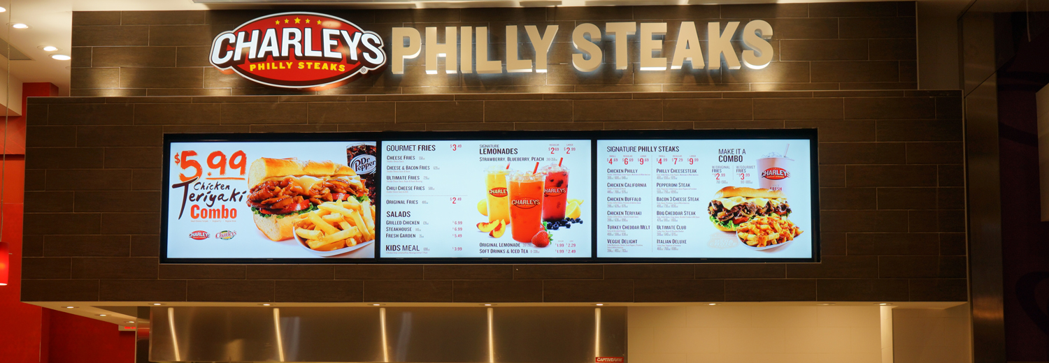 Charley's Philly Steaks Roosevelt Field Features 3-Panel Digital Menu Board System