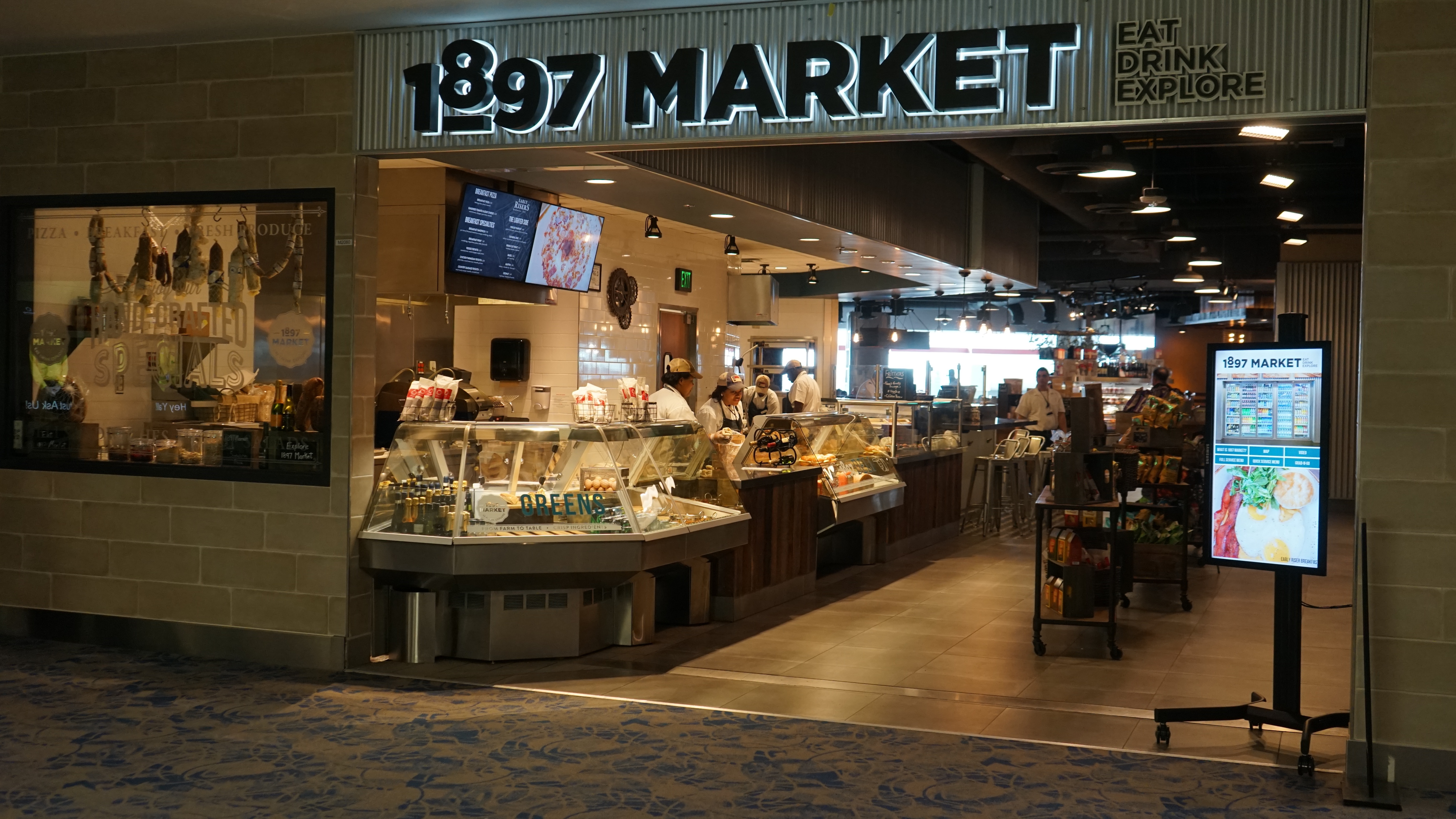 OSM Solutions provides touch screens, video wall, & menu boards for 1897 Market Charlotte Douglas International Airport